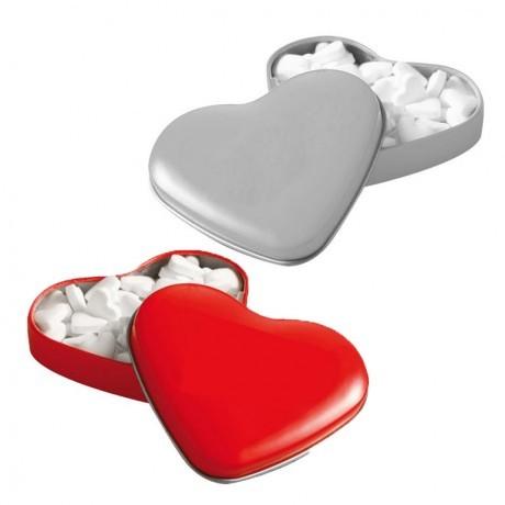 קופסת פח לסוכריות בצורת לב